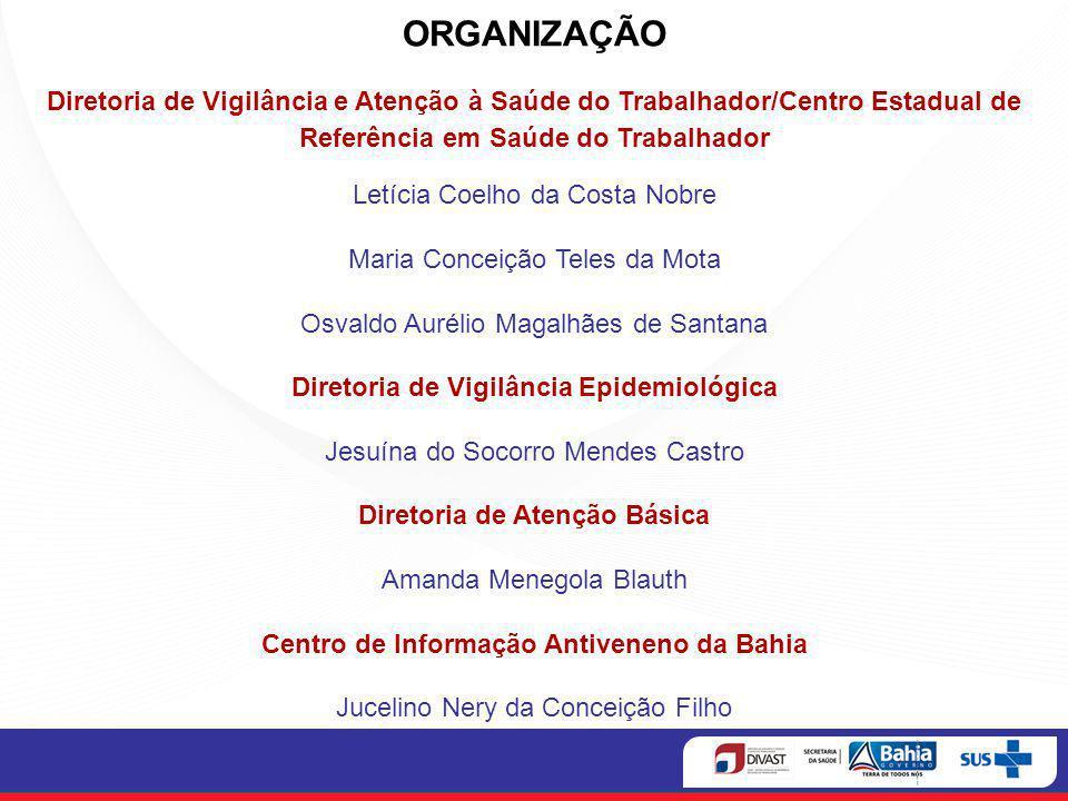 ORGANIZAÇÃO Diretoria de Vigilância e Atenção à Saúde do Trabalhador/Centro Estadual de Referência em Saúde do Trabalhador.