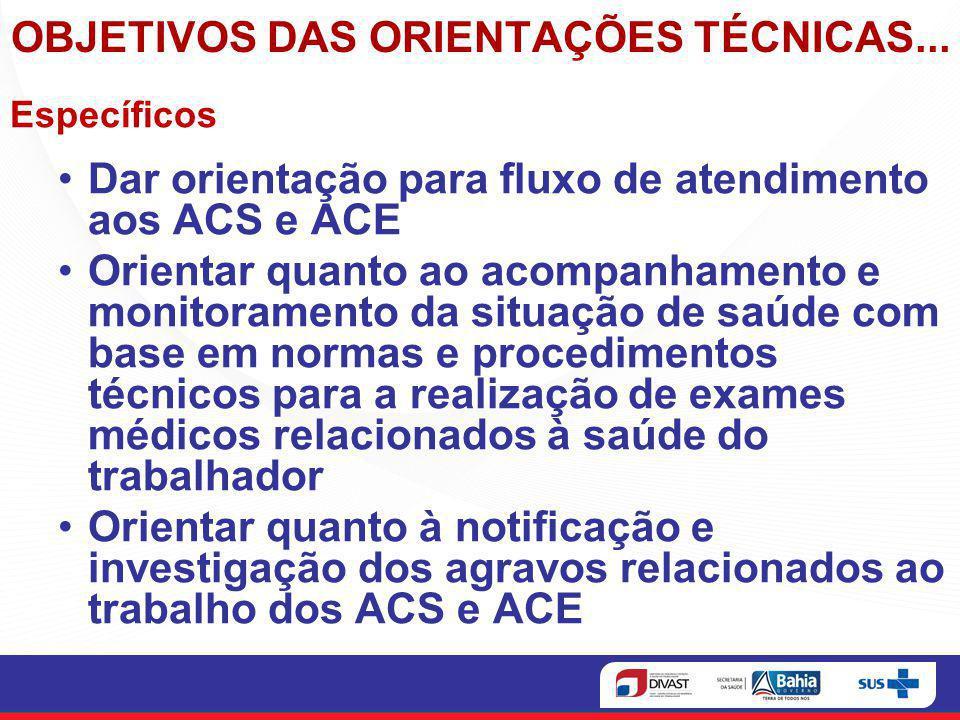 OBJETIVOS DAS ORIENTAÇÕES TÉCNICAS...
