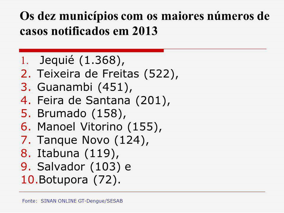 Os dez municípios com os maiores números de casos notificados em 2013