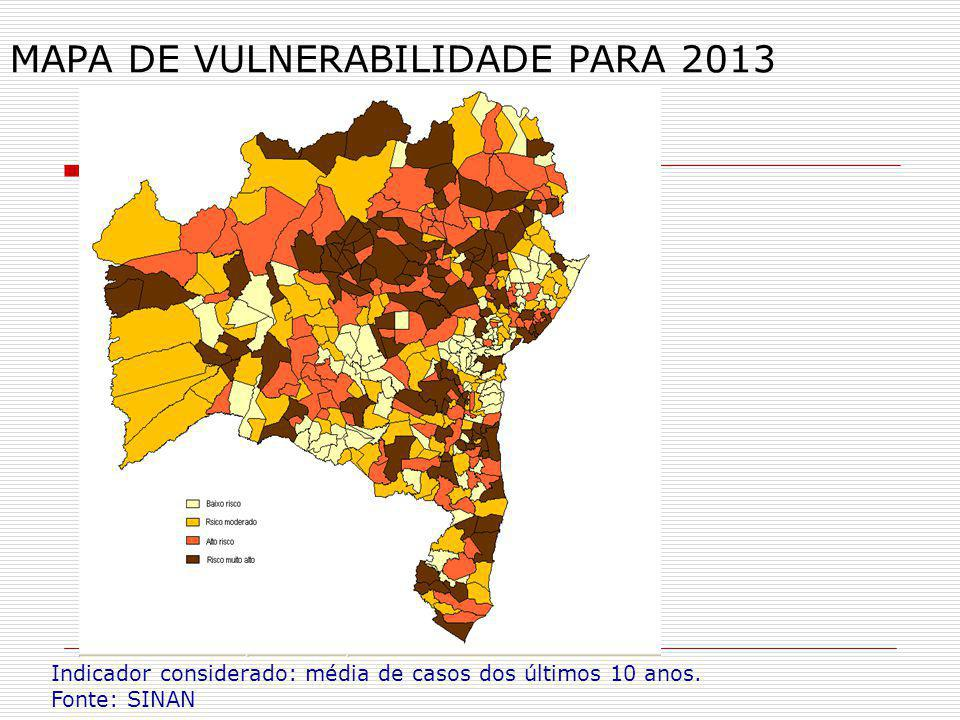 MAPA DE VULNERABILIDADE PARA 2013