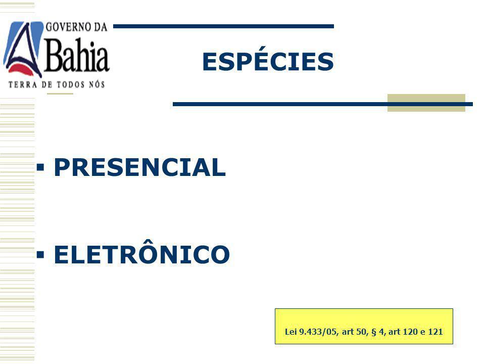 ESPÉCIES PRESENCIAL ELETRÔNICO