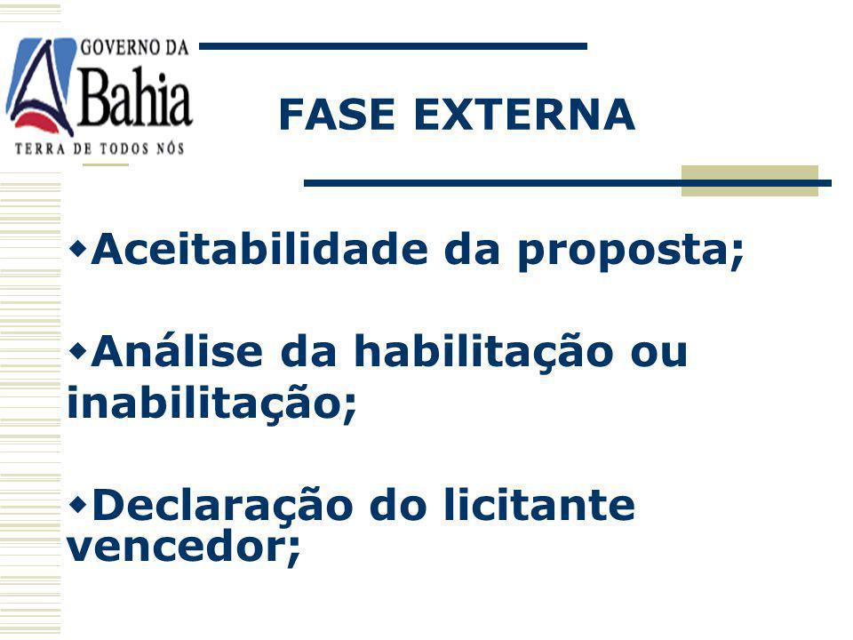 FASE EXTERNA Aceitabilidade da proposta; Análise da habilitação ou.