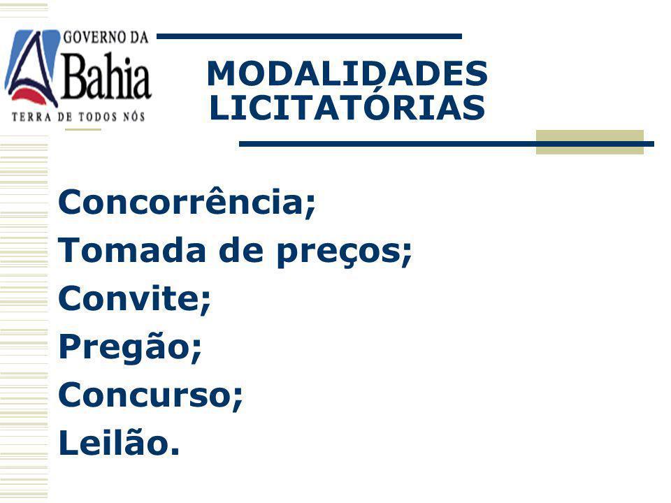 MODALIDADES LICITATÓRIAS