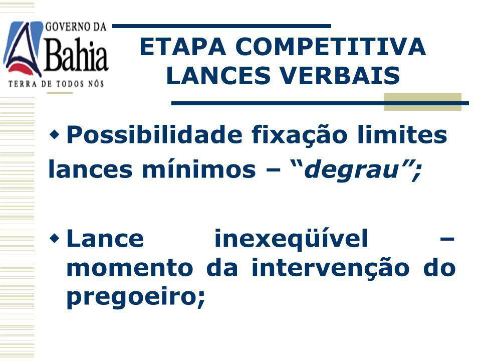 ETAPA COMPETITIVA LANCES VERBAIS. Possibilidade fixação limites. lances mínimos – degrau ;