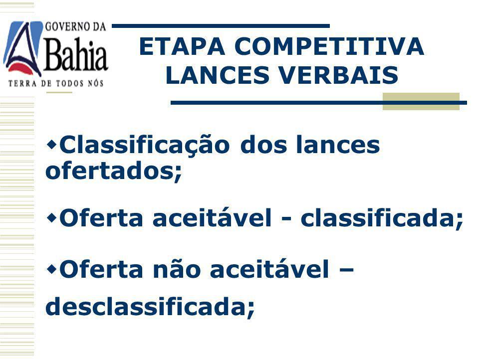 ETAPA COMPETITIVA LANCES VERBAIS. Classificação dos lances ofertados; Oferta aceitável - classificada;