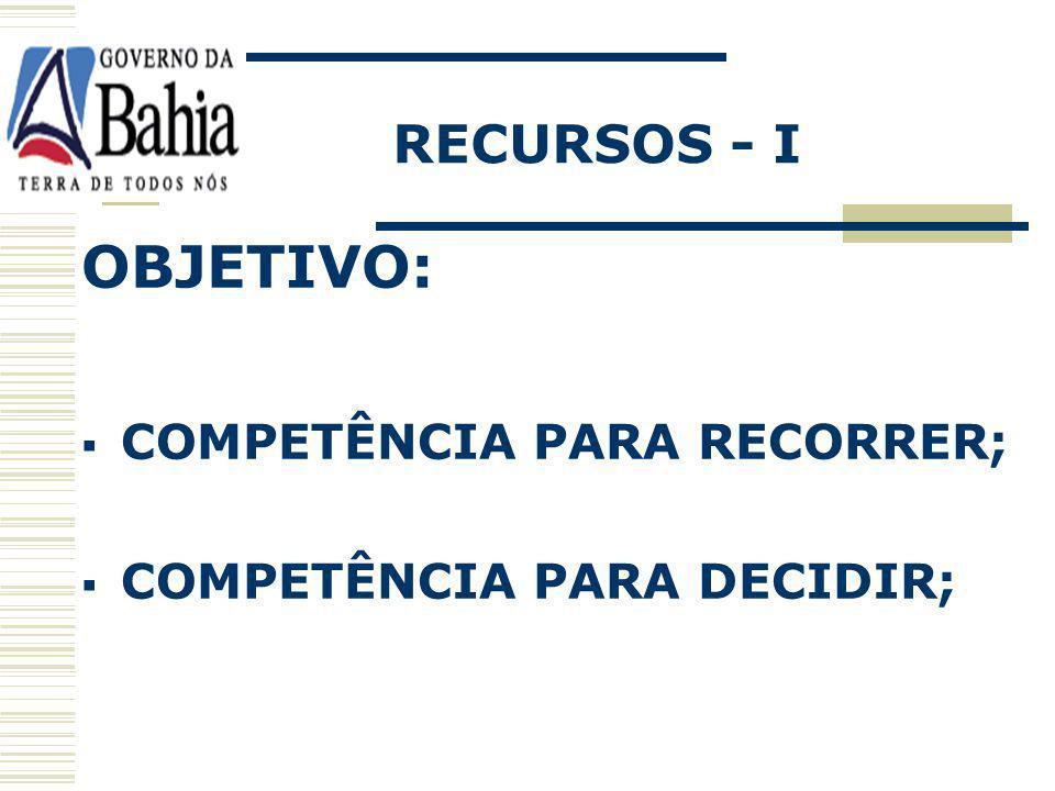OBJETIVO: RECURSOS - I COMPETÊNCIA PARA RECORRER;