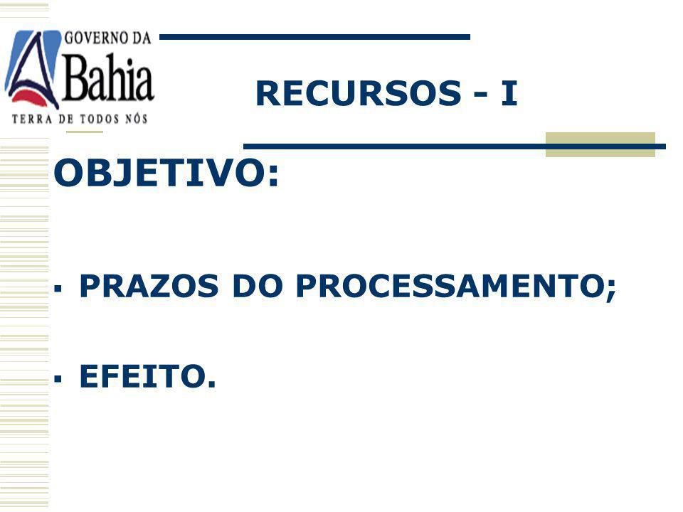 RECURSOS - I OBJETIVO: PRAZOS DO PROCESSAMENTO; EFEITO.