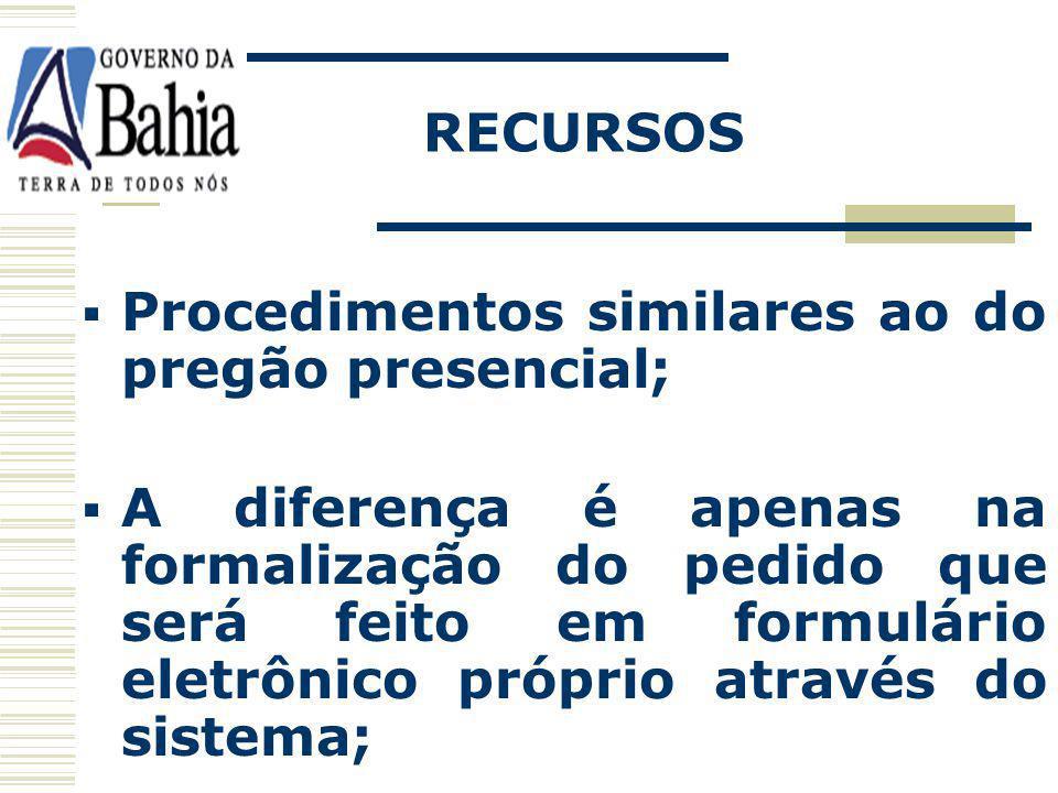 RECURSOS Procedimentos similares ao do pregão presencial;