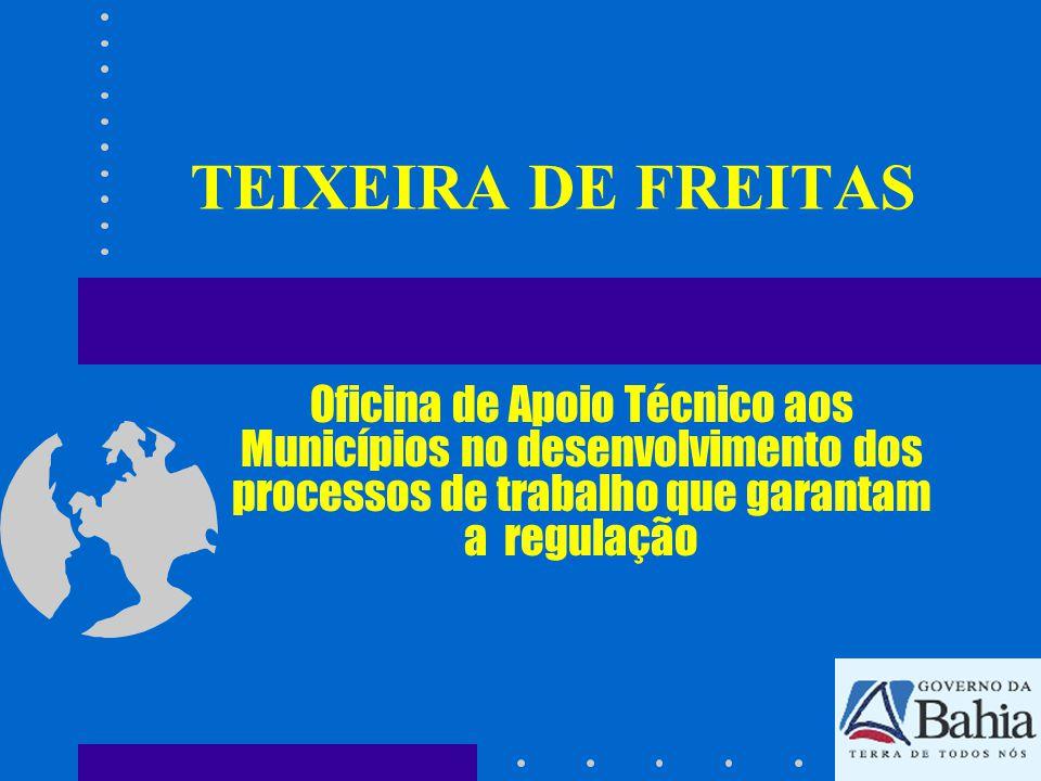 TEIXEIRA DE FREITAS Oficina de Apoio Técnico aos Municípios no desenvolvimento dos processos de trabalho que garantam a regulação.