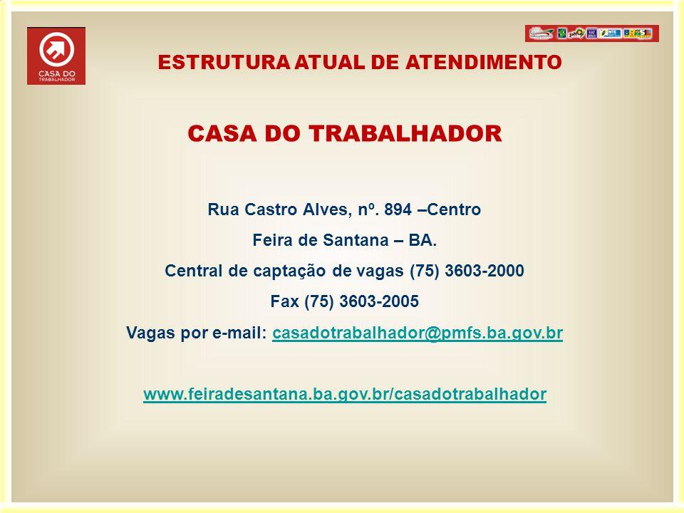 CASA DO TRABALHADOR ESTRUTURA ATUAL DE ATENDIMENTO