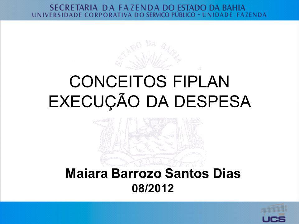CONCEITOS FIPLAN EXECUÇÃO DA DESPESA
