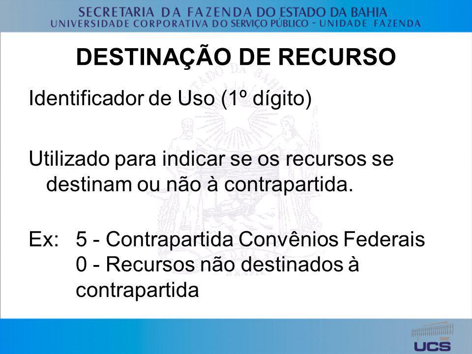 DESTINAÇÃO DE RECURSO Identificador de Uso (1º dígito)