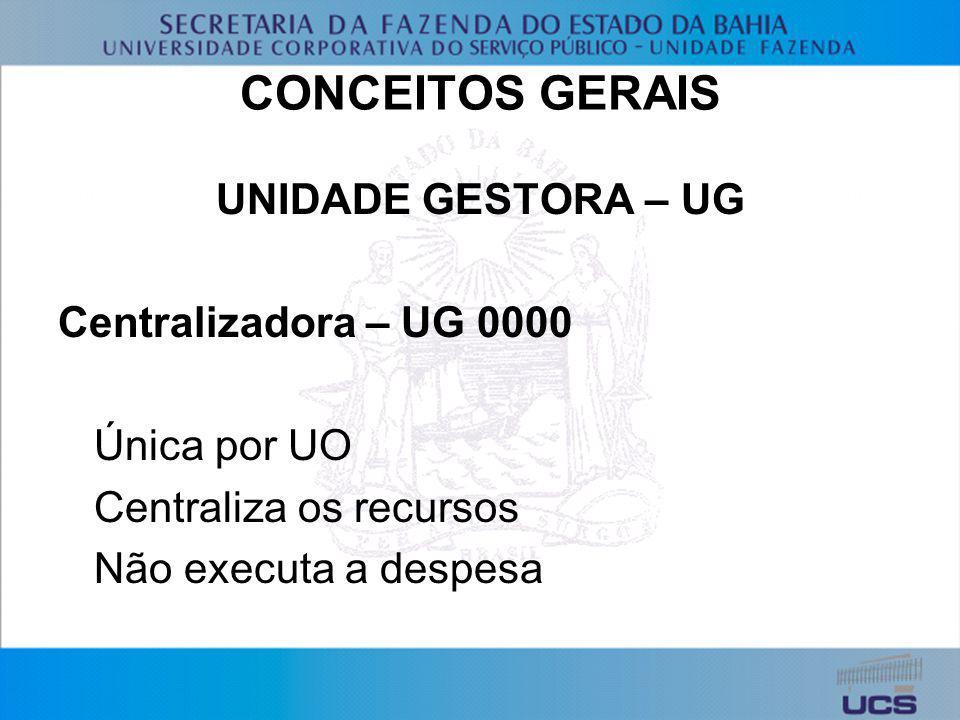 CONCEITOS GERAIS UNIDADE GESTORA – UG Centralizadora – UG 0000