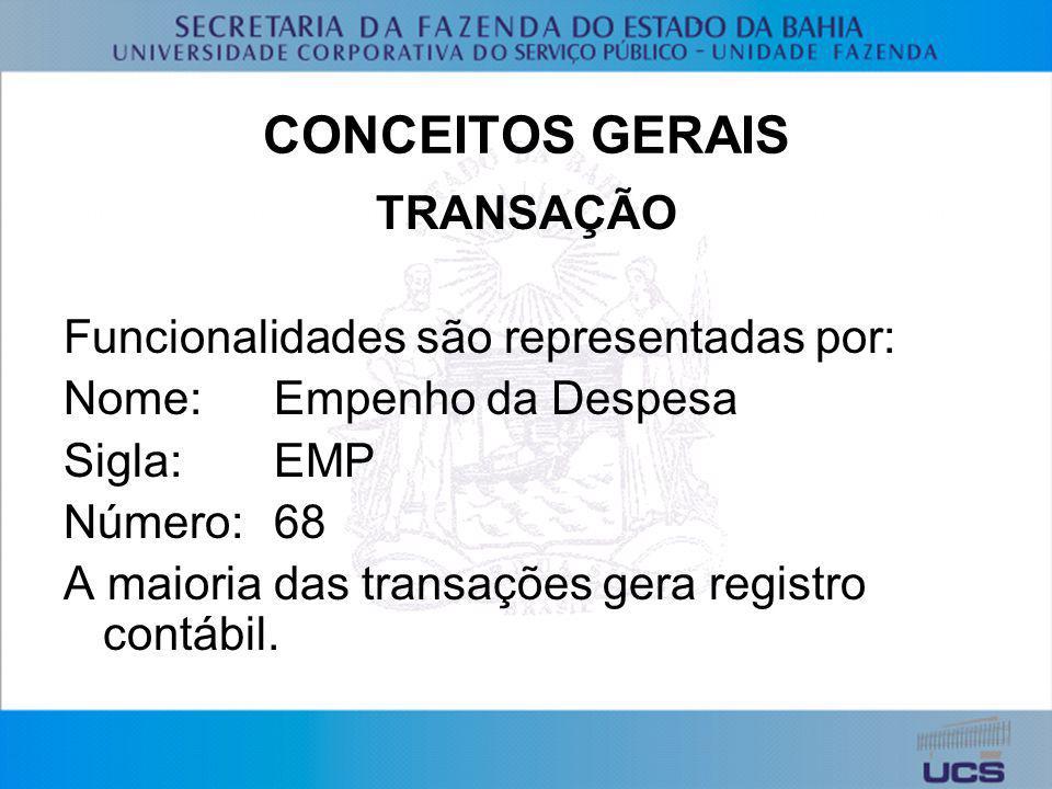 CONCEITOS GERAIS TRANSAÇÃO Funcionalidades são representadas por: