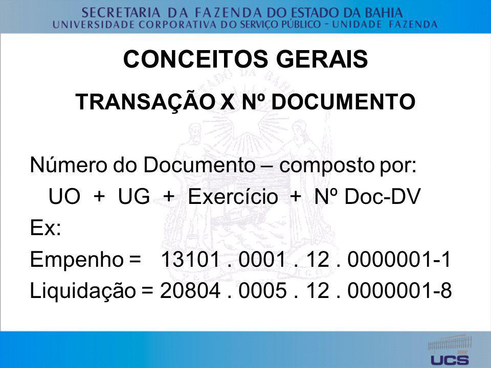TRANSAÇÃO X Nº DOCUMENTO