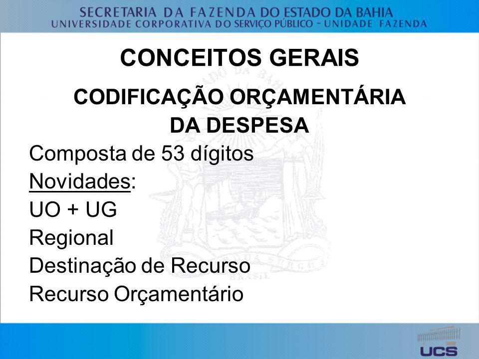 CODIFICAÇÃO ORÇAMENTÁRIA