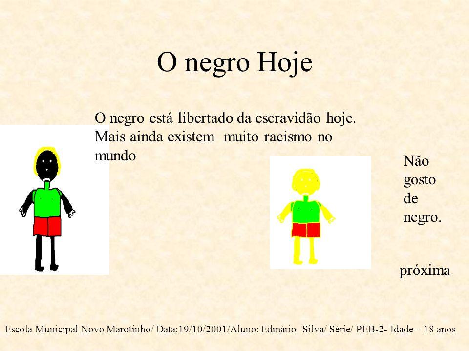 O negro Hoje O negro está libertado da escravidão hoje. Mais ainda existem muito racismo no mundo.