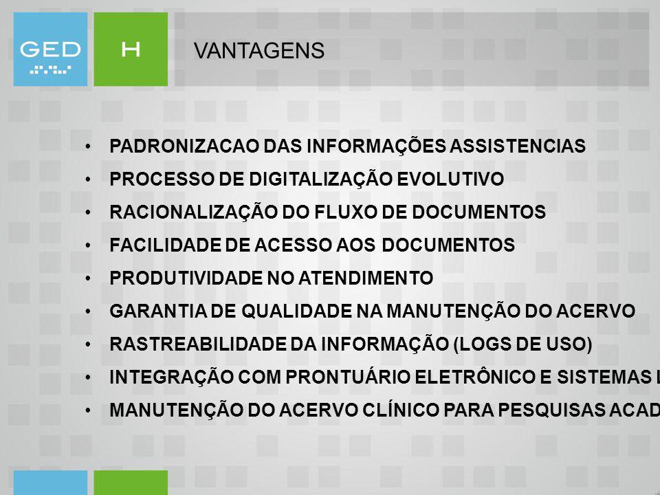 VANTAGENS PADRONIZACAO DAS INFORMAÇÕES ASSISTENCIAS
