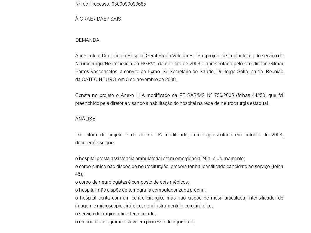 Nº. do Processo: 0300090093685 À CRAE / DAE / SAIS. DEMANDA.