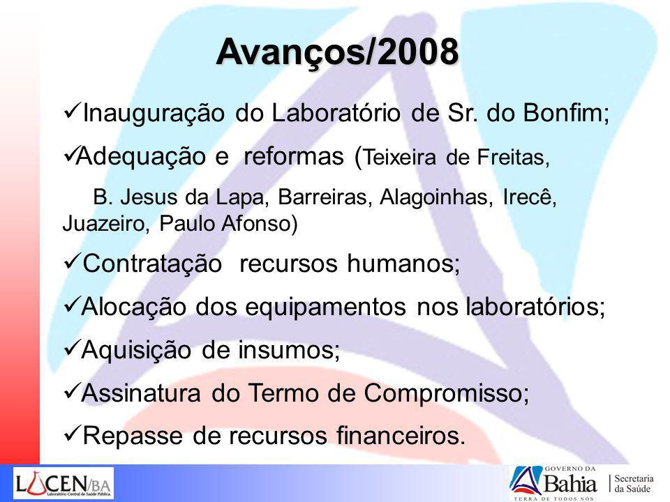 Avanços/2008 Inauguração do Laboratório de Sr. do Bonfim;