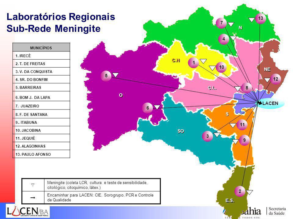 Laboratórios Regionais Sub-Rede Meningite