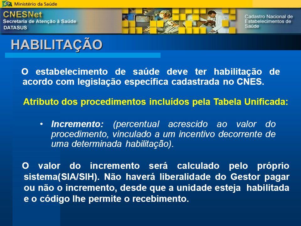 HABILITAÇÃO O estabelecimento de saúde deve ter habilitação de acordo com legislação específica cadastrada no CNES.
