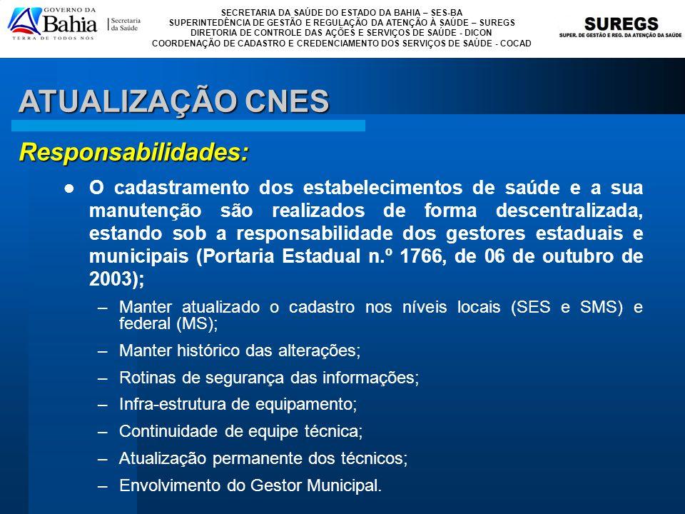 ATUALIZAÇÃO CNES Responsabilidades: