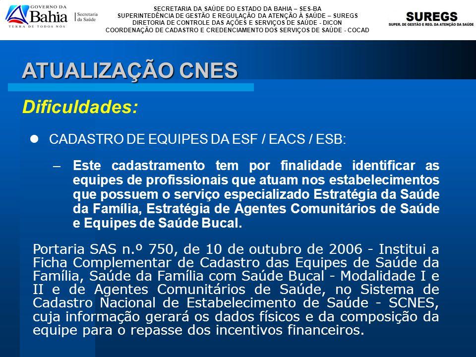 ATUALIZAÇÃO CNES Dificuldades: