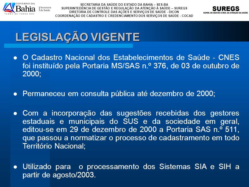 LEGISLAÇÃO VIGENTE O Cadastro Nacional dos Estabelecimentos de Saúde - CNES foi instituído pela Portaria MS/SAS n.º 376, de 03 de outubro de 2000;