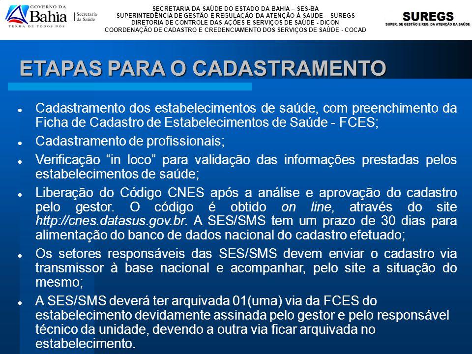 ETAPAS PARA O CADASTRAMENTO
