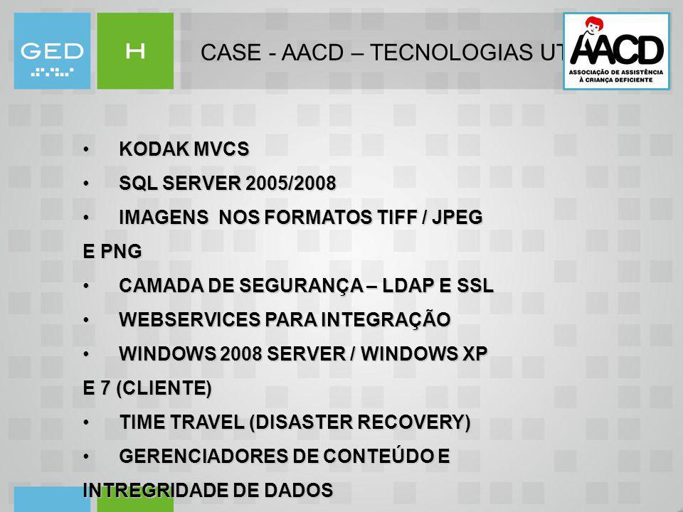 CASE - AACD – TECNOLOGIAS UTILIZADAS