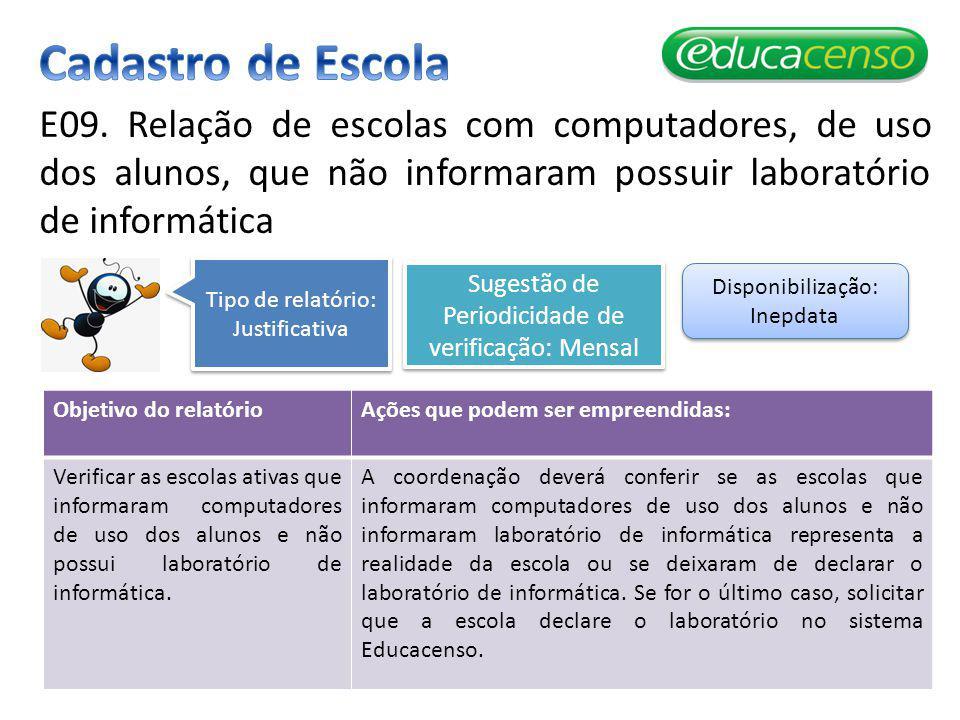 Cadastro de Escola E09. Relação de escolas com computadores, de uso dos alunos, que não informaram possuir laboratório de informática.