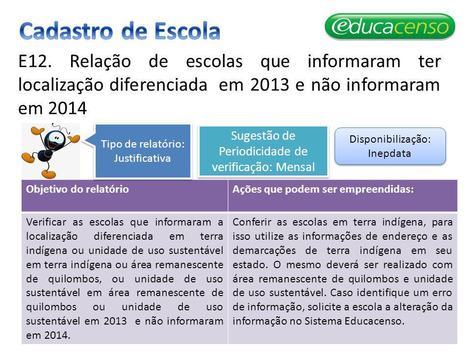 Cadastro de Escola E12. Relação de escolas que informaram ter localização diferenciada em 2013 e não informaram em 2014.