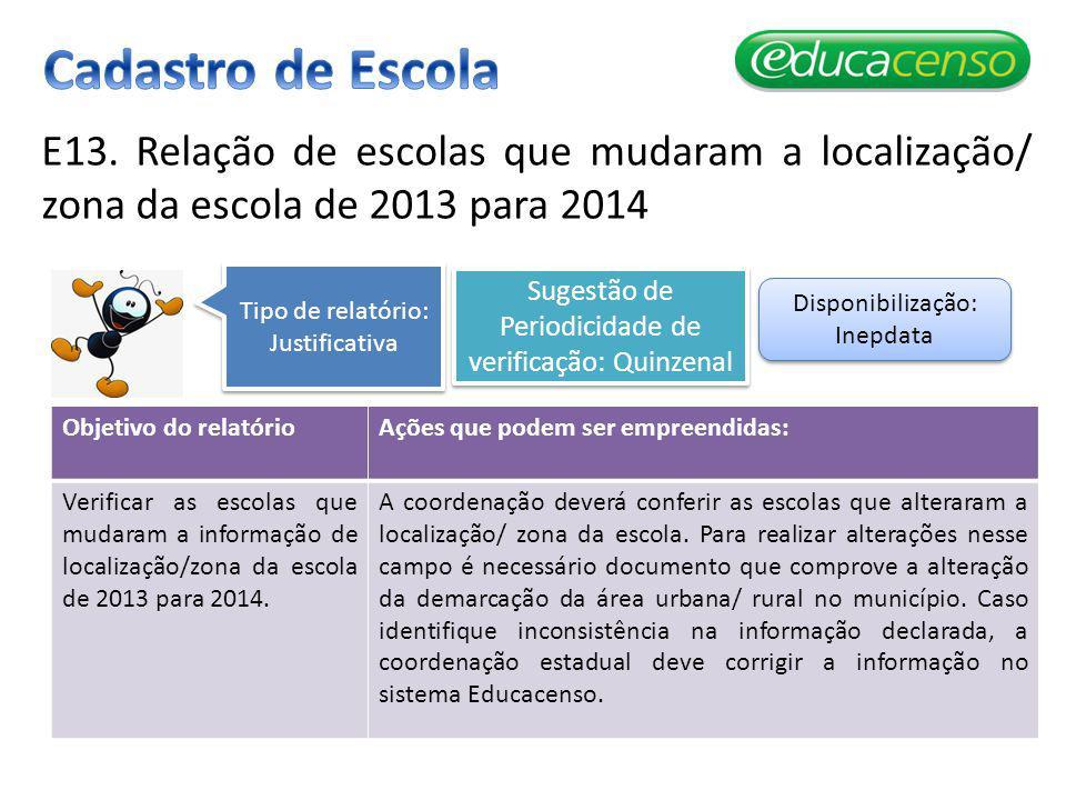 Cadastro de Escola E13. Relação de escolas que mudaram a localização/ zona da escola de 2013 para 2014.