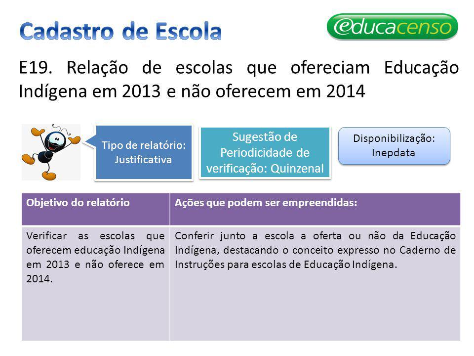 Cadastro de Escola E19. Relação de escolas que ofereciam Educação Indígena em 2013 e não oferecem em 2014.