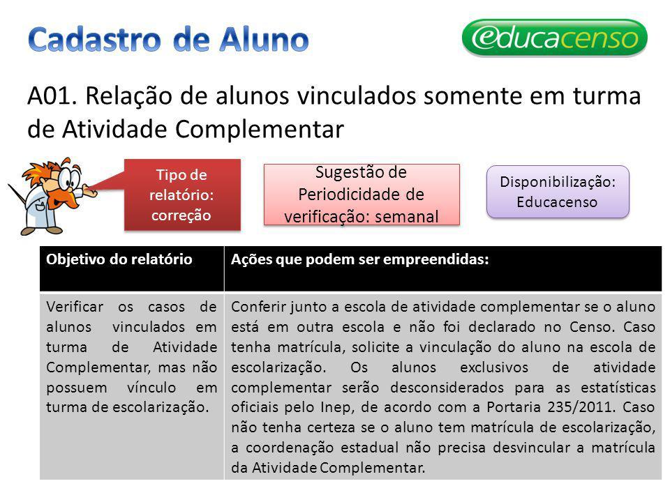 Cadastro de Aluno A01. Relação de alunos vinculados somente em turma de Atividade Complementar. Tipo de relatório: correção.