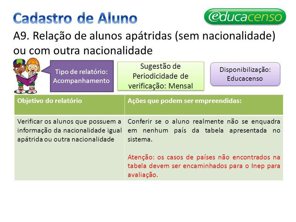Cadastro de Aluno A9. Relação de alunos apátridas (sem nacionalidade) ou com outra nacionalidade. Tipo de relatório: Acompanhamento.