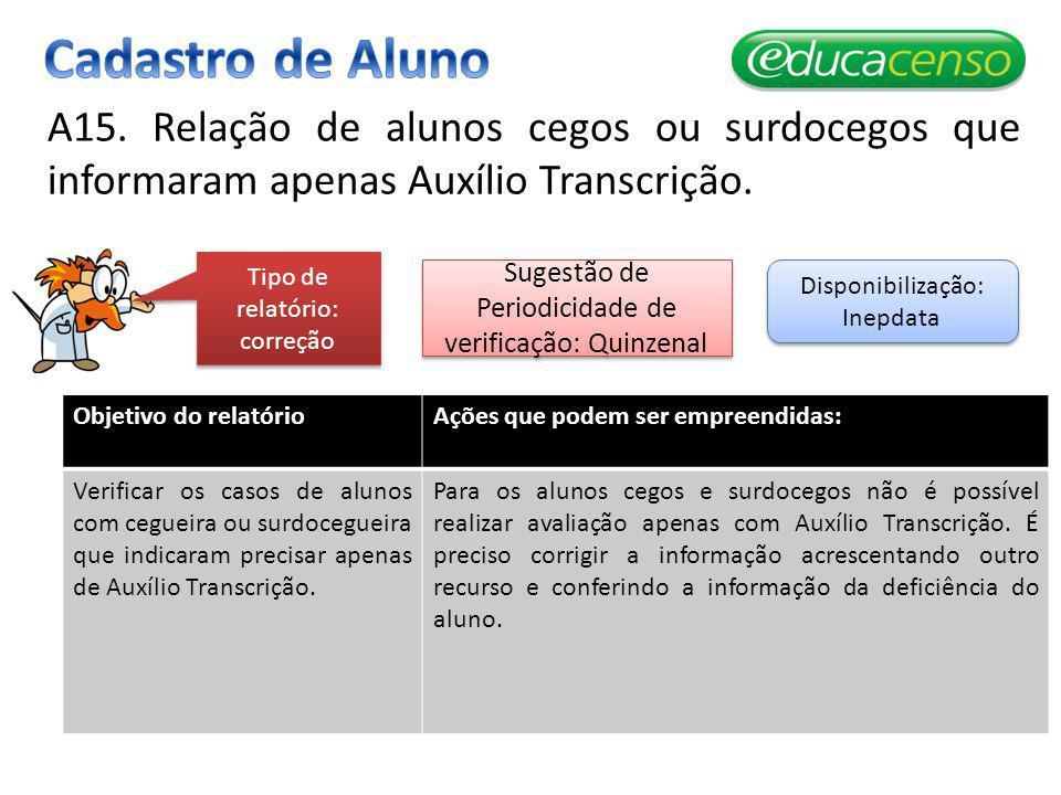 Cadastro de Aluno A15. Relação de alunos cegos ou surdocegos que informaram apenas Auxílio Transcrição.