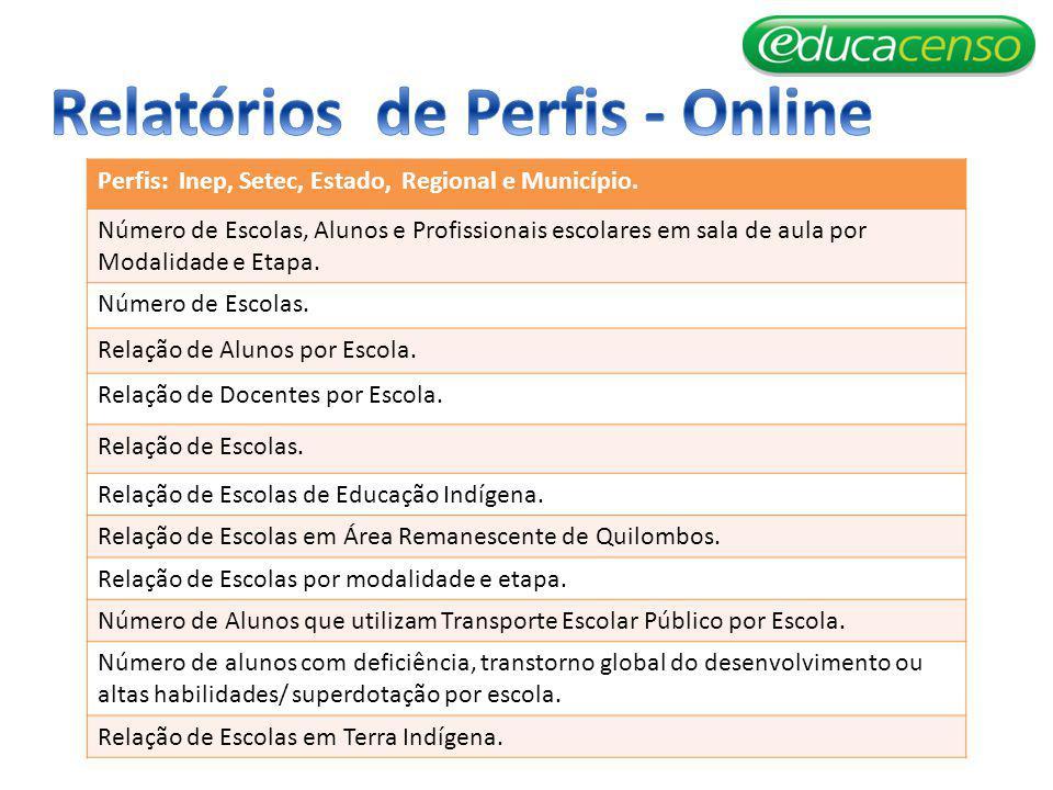 Relatórios de Perfis - Online