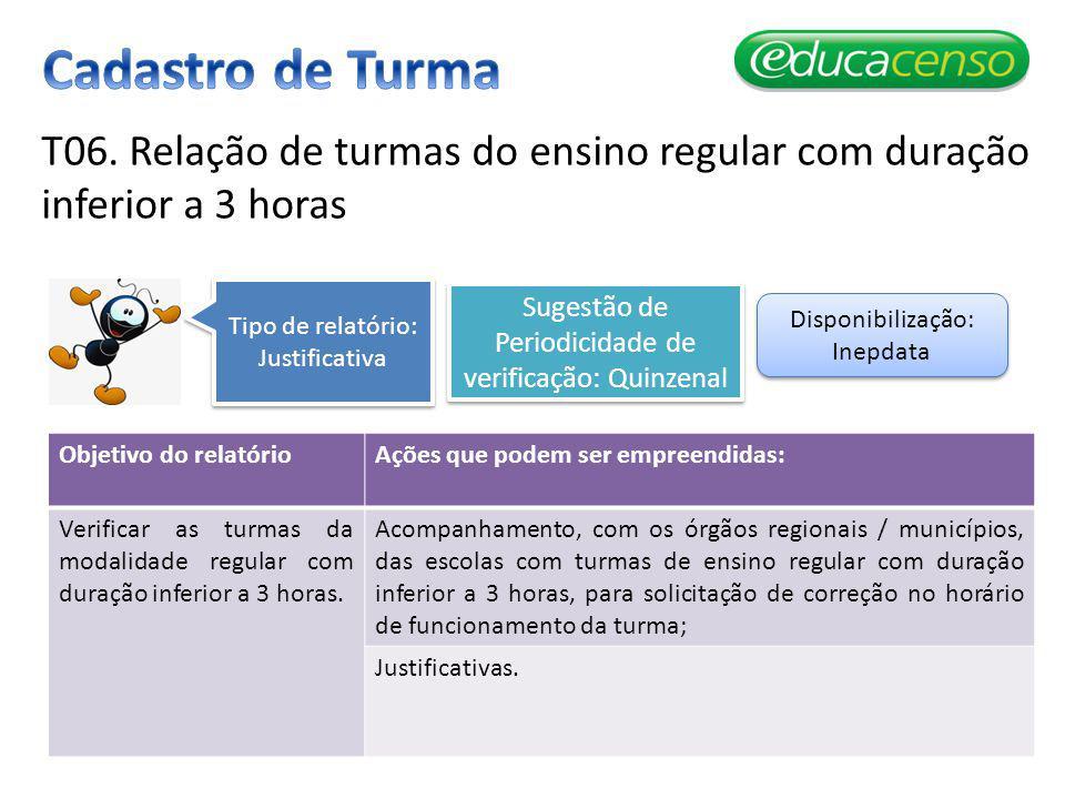 Cadastro de Turma T06. Relação de turmas do ensino regular com duração inferior a 3 horas. Tipo de relatório: Justificativa.