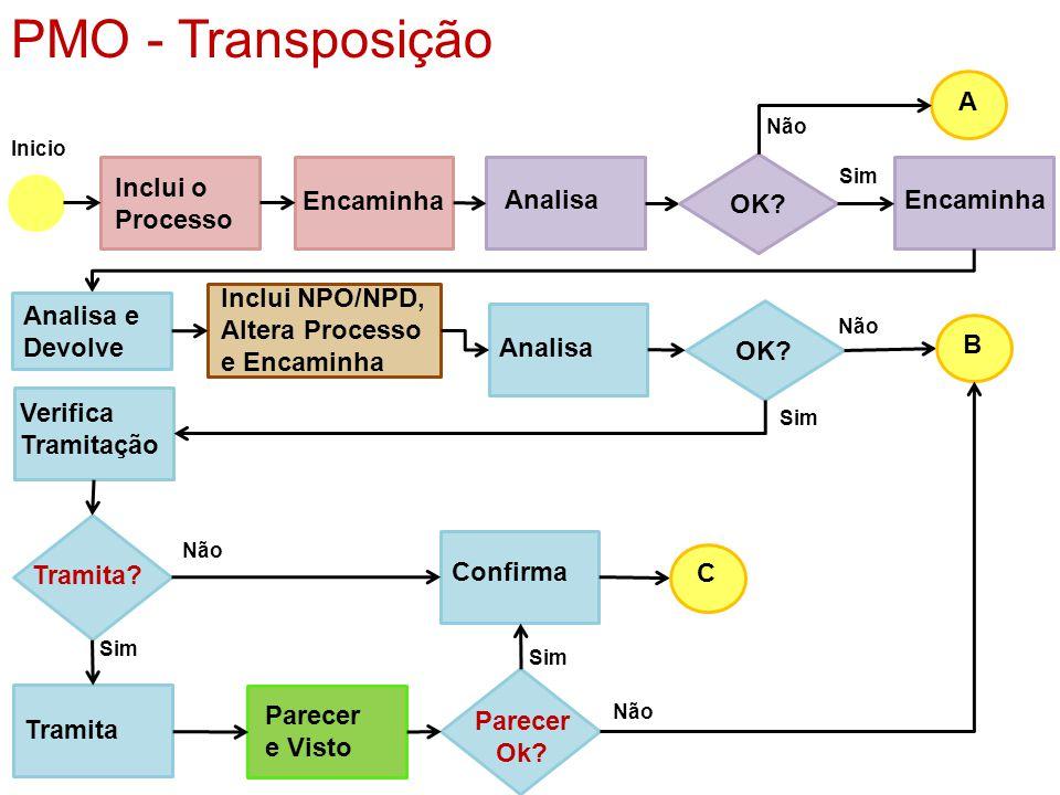 PMO - Transposição A Inclui o Processo Encaminha Analisa OK Encaminha