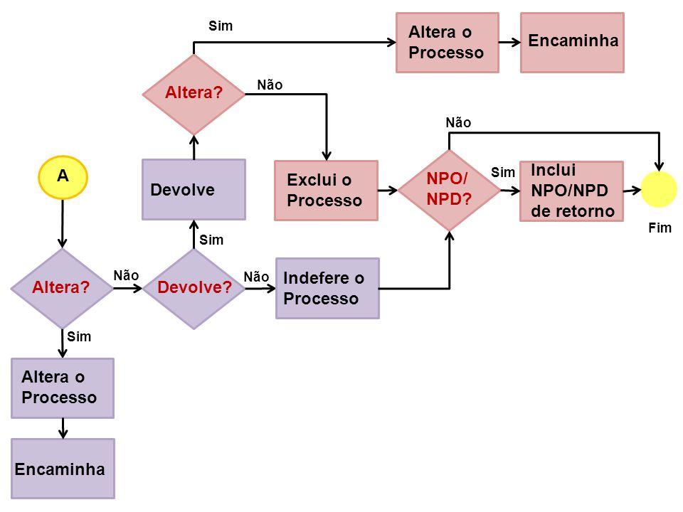 Inclui NPO/NPD de retorno A Exclui o Processo NPO/ NPD Devolve