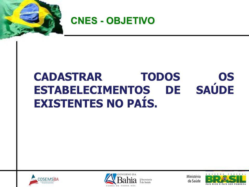 CADASTRAR TODOS OS ESTABELECIMENTOS DE SAÚDE EXISTENTES NO PAÍS.