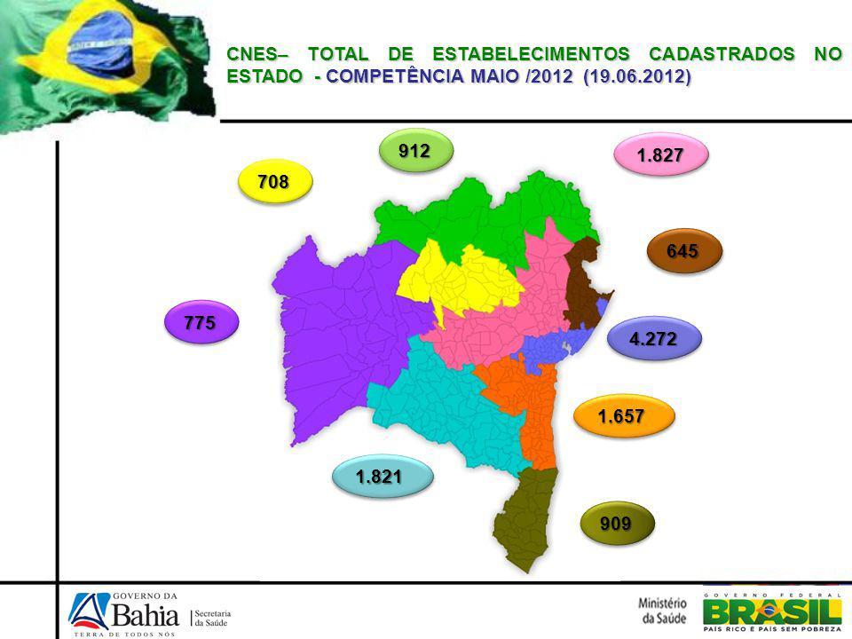 CNES– TOTAL DE ESTABELECIMENTOS CADASTRADOS NO ESTADO - COMPETÊNCIA MAIO /2012 (19.06.2012)