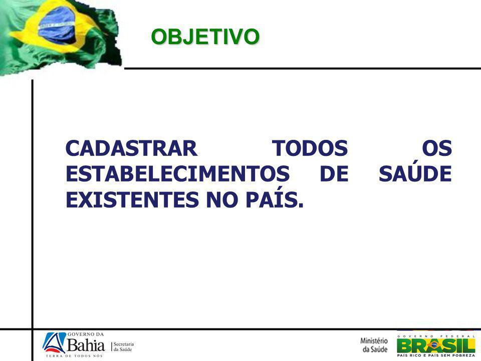 OBJETIVO CADASTRAR TODOS OS ESTABELECIMENTOS DE SAÚDE EXISTENTES NO PAÍS.