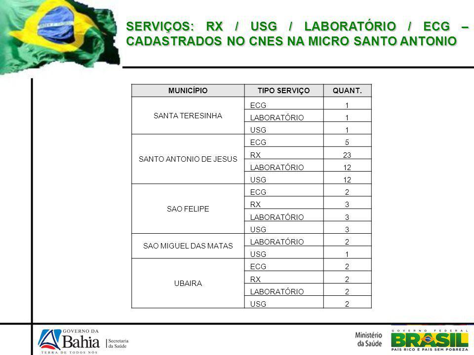 SERVIÇOS: RX / USG / LABORATÓRIO / ECG – CADASTRADOS NO CNES NA MICRO SANTO ANTONIO