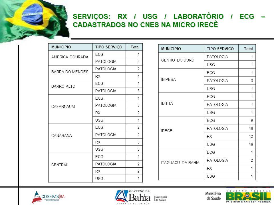 SERVIÇOS: RX / USG / LABORATÓRIO / ECG – CADASTRADOS NO CNES NA MICRO IRECÊ