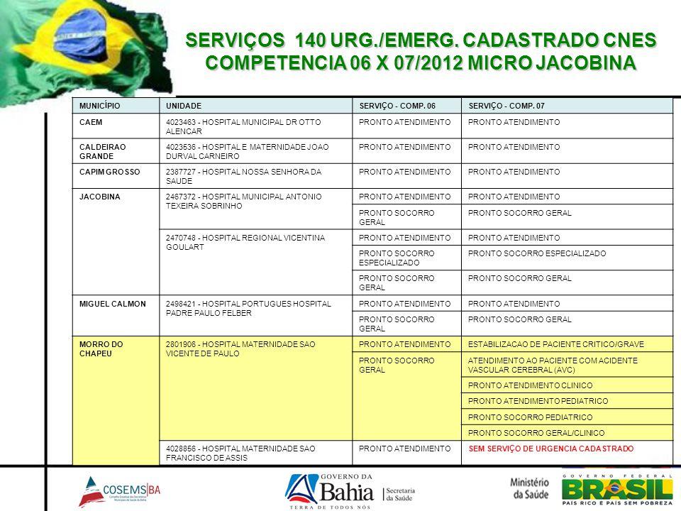 SERVIÇOS 140 URG./EMERG. CADASTRADO CNES COMPETENCIA 06 X 07/2012 MICRO JACOBINA