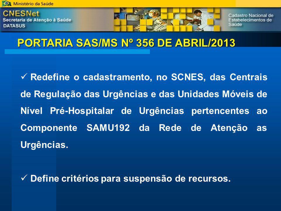 PORTARIA SAS/MS Nº 356 DE ABRIL/2013