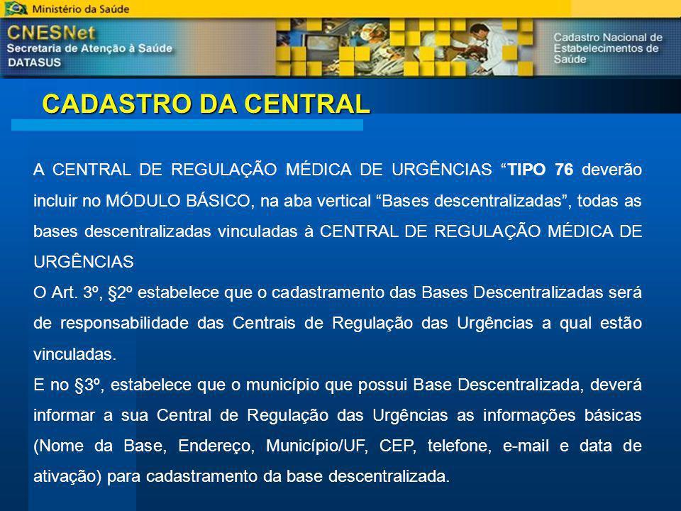 CADASTRO DA CENTRAL